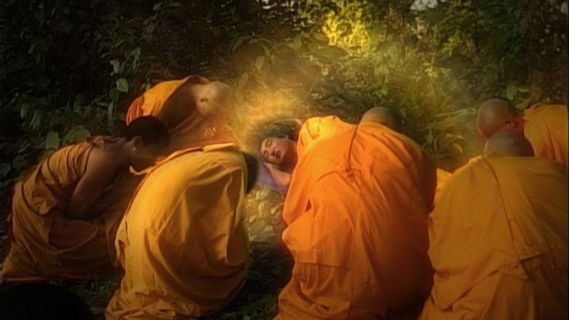 Lord Shakyamuni Buddha enters Parinirvana