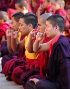 Monks practising Qi Channelling