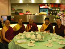 Lama Dondrup Dorje (far right) at a dinner in Hong Kong with (from left to right) Choedrag Rinpoche - Hong Kong Palyul Centre, Khenpo Tashi Norbu - Taipei Palyul Centre, Khenpo Tenzin Palden - Kaohsiung Palyul Centre and Jangling Rinpoche - Macau Palyul Centre.