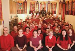 Lama Dondrup Dorje with students at the Easter Namcho Retreat