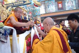 Venerable Chodak Gyatso Rinpoche making Mandala Offering to H.H. Penor Rinpoche
