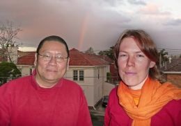 Lama Dondrup Dorje with a student on the balcony of the Melbourne office of the Palyul Nyingma Buddhist Association (Australia), during the appearance of a rainbow.