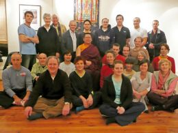 Lama Dondrup Dorje with students in Melbourne