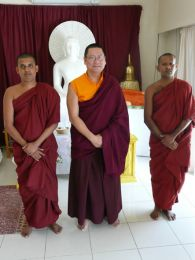 Lama Dondrup Dorje with Rev. Sumeda and Rev. Mahinda in Cyprus
