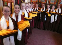 Some of the ordained that received new robes from Lama Dondrup Dorje at the first Pathgate Study Group Retreat