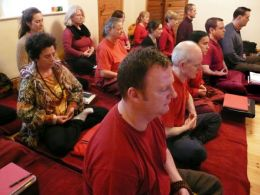 Students practising meditation at the first ever Dharma Foundation Study Retreat
