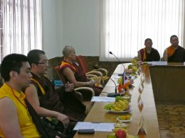 (From left to right) HE Mugsang Kuchen Rinpoche, HH Karma Kuchen Rinpoche, Khenchen Pema Sherab, Khenpo Khyentse Norbu & Lama Dondrup Dorje in the new Conference Hall