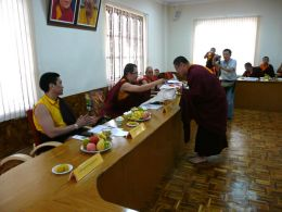 HH Karma Kuchen Rinpoche bestowing gifts and khata on Ven. Lama Dondrup Dorje