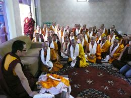 3 Year Retreatants making offerings to HH Karma Kuchen Rinpoche on the morning of 26th April 2009