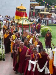 The Kudung of HH Penor Rinpoche being carried in procession to the Golden Temple for the 49th Day Puja