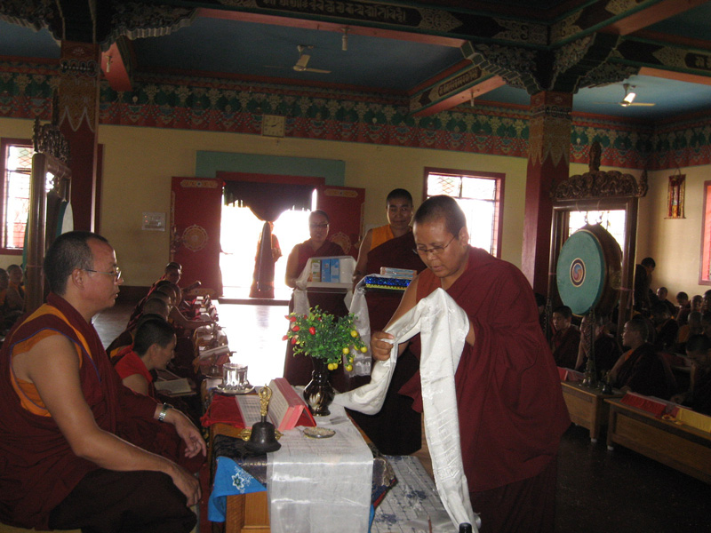 Khenpo Tsultrim Tentar received offering from the students on the last day of the school term at Ngagyur Tsogyal Sherupling Nunneryy