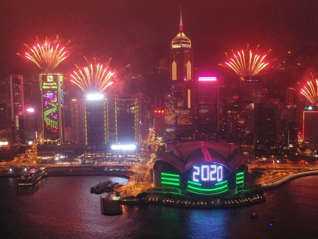 Fireworks display in Hong Kong to celebrate the arrival of 2020