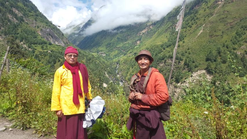 Khenpo Tsultrim Tentar with friend en-route to his home village in Nepal