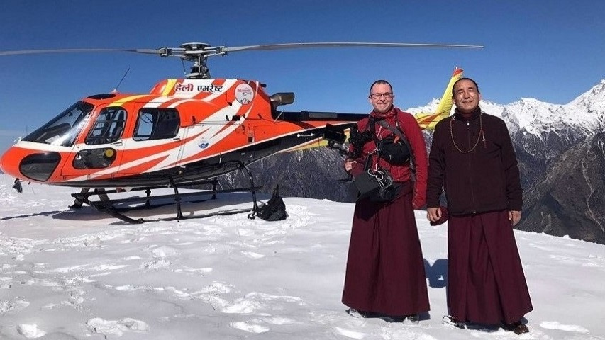 Khenpo Nyingma Dondrup with Loday Gonpo at the summit of Yang Ri Khang Mountain, Nepal