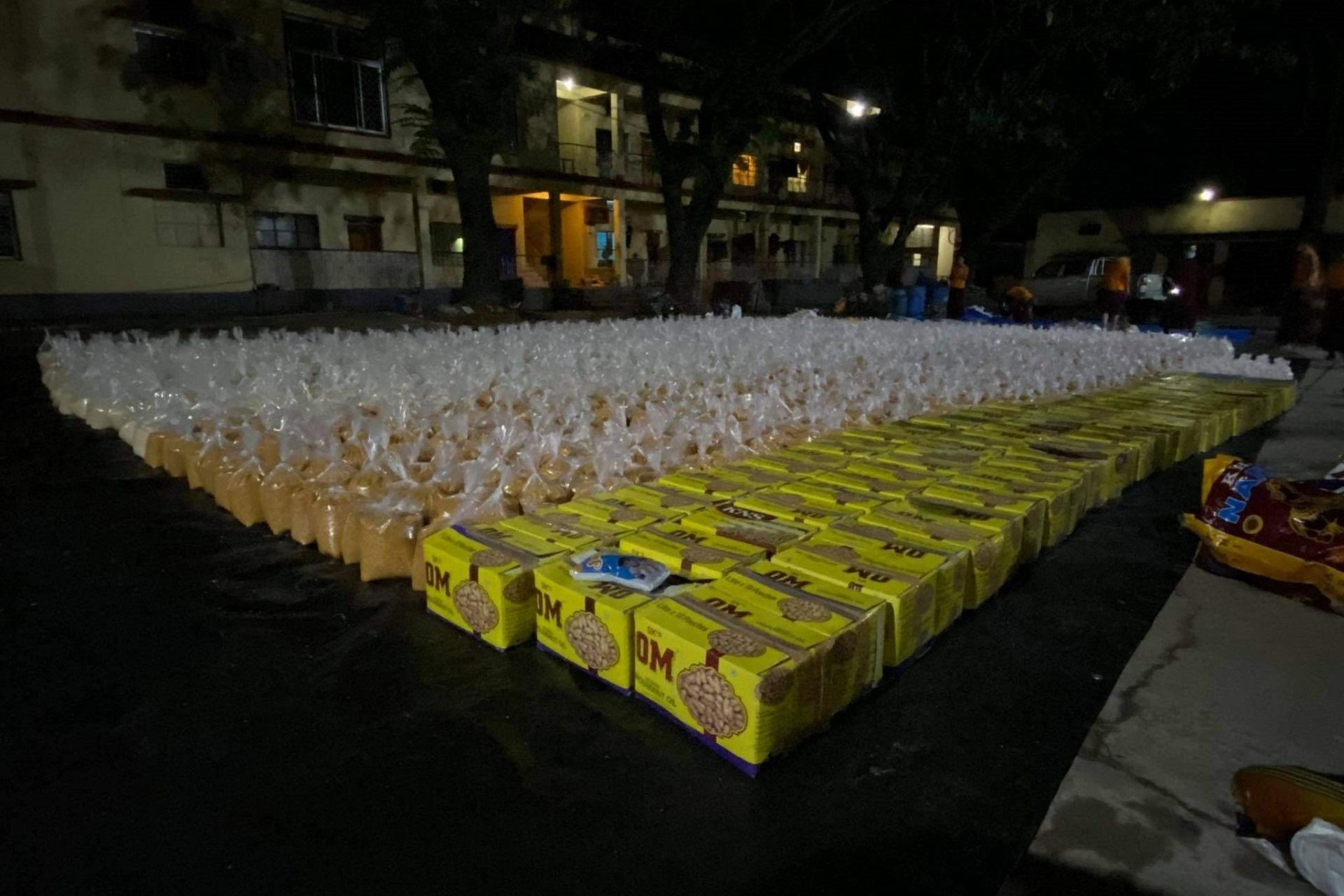 Food-parcels that have been prepared for distribution