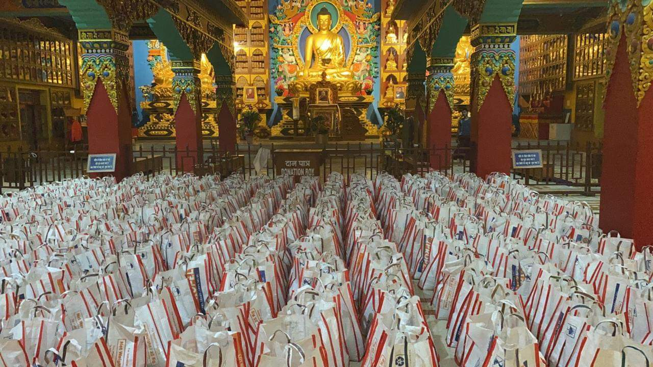 Food-parcels that are ready for distribution inside the temple of Palyul Thupten Shedrub Choekhor Dargyeling, Bodhgaya, Bihar