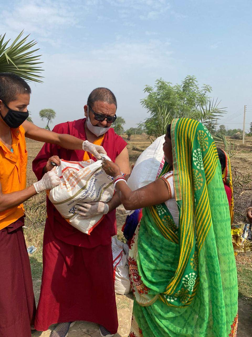 Distribution of food to villagers in Bodhgaya