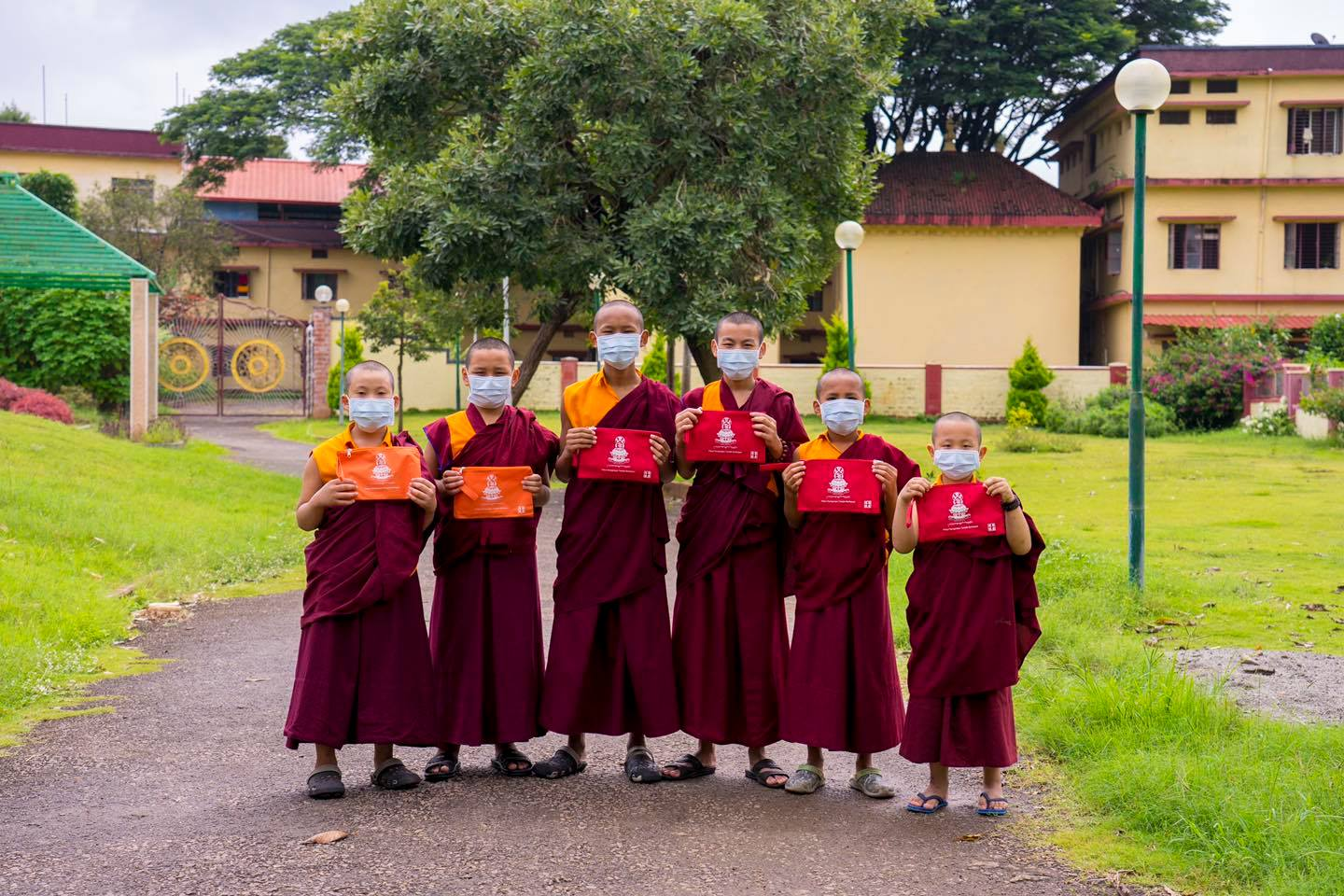Monks with new face mask from Taiwan