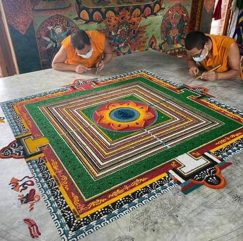 Making Sand Mandala before Lhabhab Drubchen
