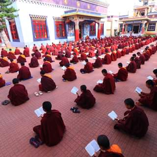 Monks of the junior school at their morning prayers