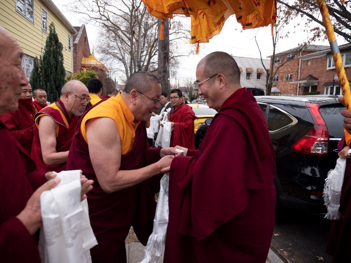 Lama Dondrup Dorje Rinpoche offers khata to Chogtrul Gyangkhang Rinpoche