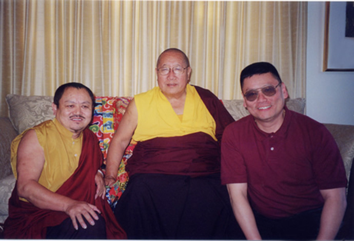 His Holiness Penor Rinpoche with Khenchen Tsewang Gyatso and Lama  Dondrup Dorje in Ottawa.