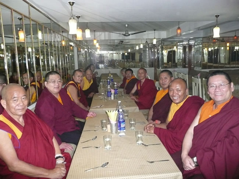 Khenchen Pema Sherab with Lama Dondrup Dorje Rinpoche and other committee members of the Association for the Preservation of Ngagyur Kama Tradition, in Bodhgaya