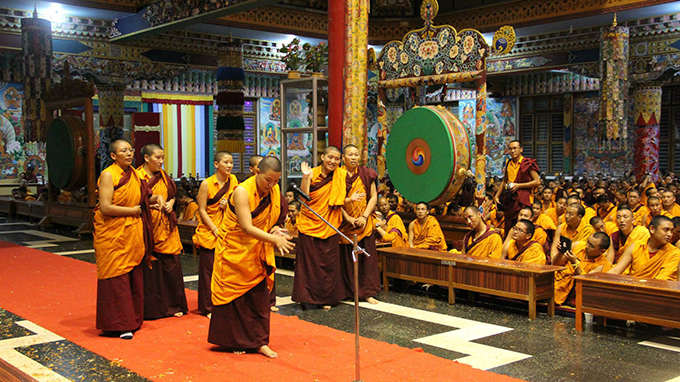 Anis (Tibetan nuns) debating during Enthronement Celebrations at Namdroling Monastery