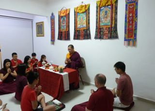 Ven. Lama Dondrup Dorje leads prayers at new Pathgate Dharma Centre in Singapore