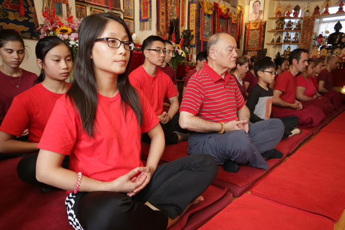 Students practice meditation during the Pathgate Summer Retreat