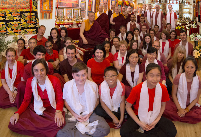 Ven. Lama Dondrup Dorje with students during Pathgate Summer Retreat 2016